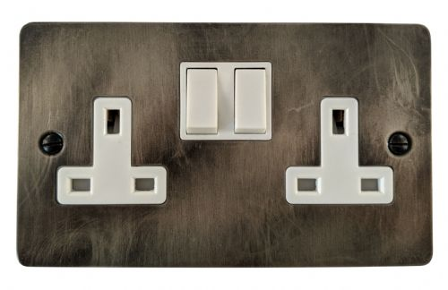 G&H FSL10W Flat Plate Slate 2 Gang Double 13A Switched Plug Socket